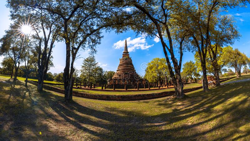 The historic site is located in Si Satchanalai Historical Park, Sukhothai, Thailand. stock photos