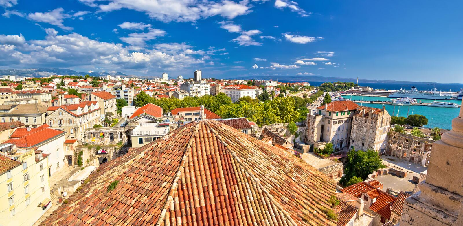 Historic Split rooftops panoramic view. Dalmatia, Croatia stock photos