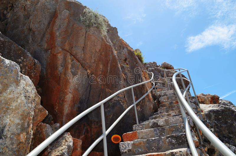 Historic stairs up in Rhodes. royalty free stock photos