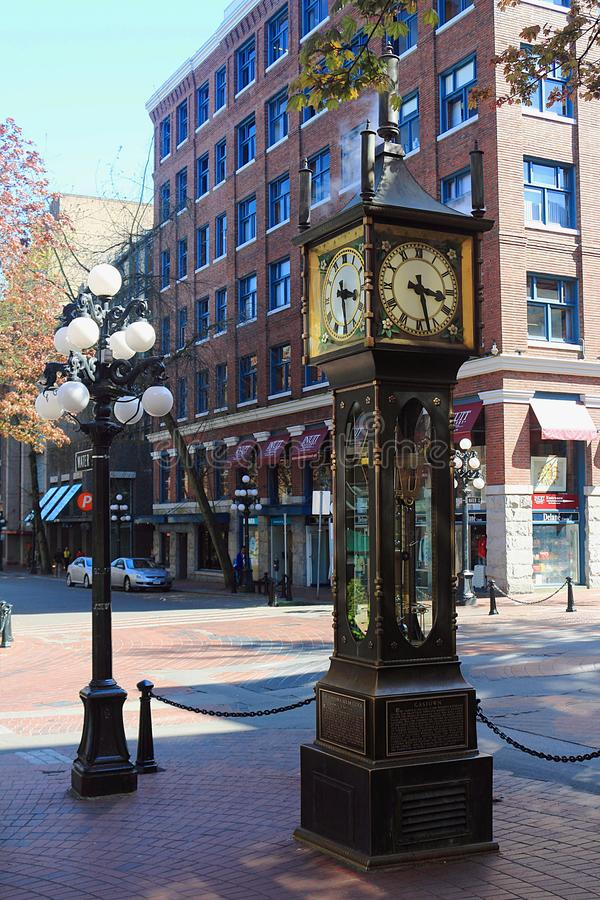 Historic Steam Clock in Gastown, Vancouver, British Columbia, Canada. The Historic Steam Clock in Vancouver`s old Gastown district is one of the major tourist royalty free stock photo