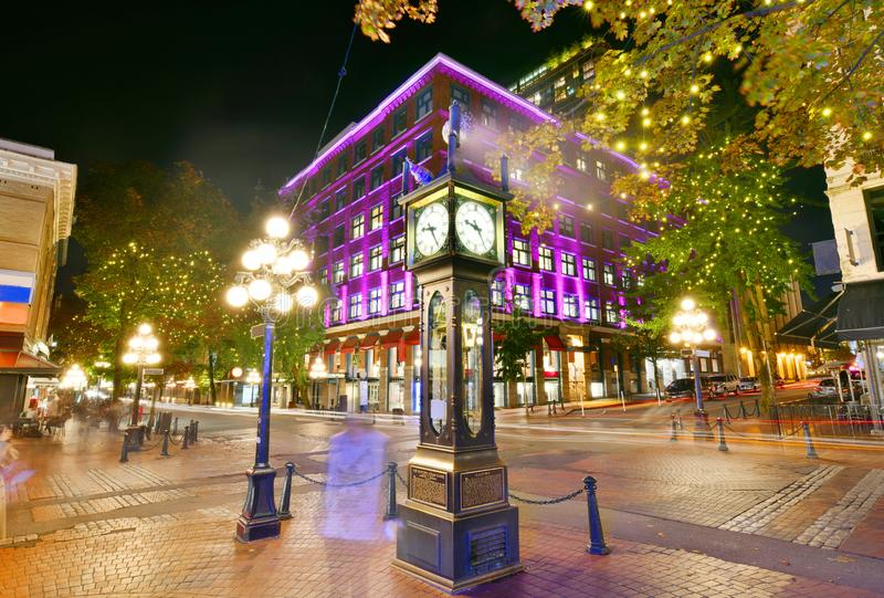Historic Steam Clock in Gastown Vancouver,Canada. Night view of Historic Steam Clock in Gastown Vancouver,British Columbia, Canada royalty free stock photography