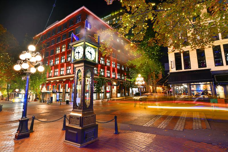 Historic Steam Clock in Gastown Vancouver,Canada. Night view of Historic Steam Clock in Gastown Vancouver,British Columbia, Canada stock image