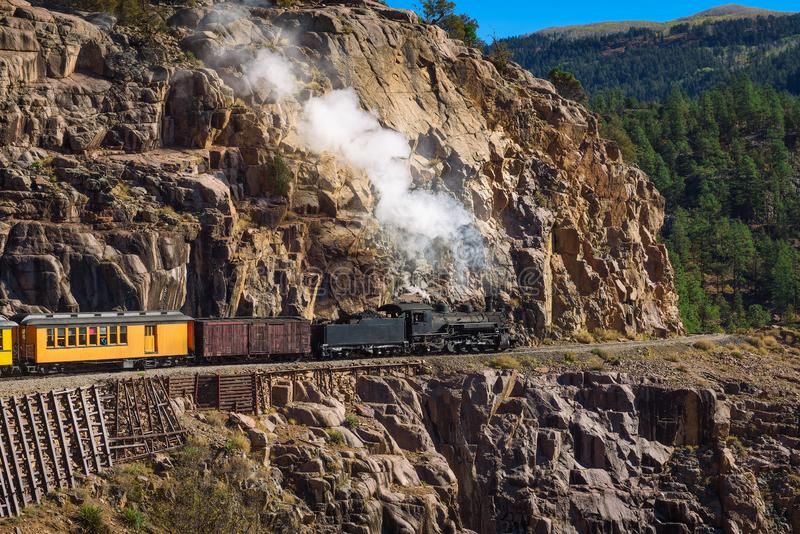 Historic steam engine train in Colorado, USA. Historic steam engine train travels from Durango to Silverton through the San Juan Mountains in Colorado, USA stock photo