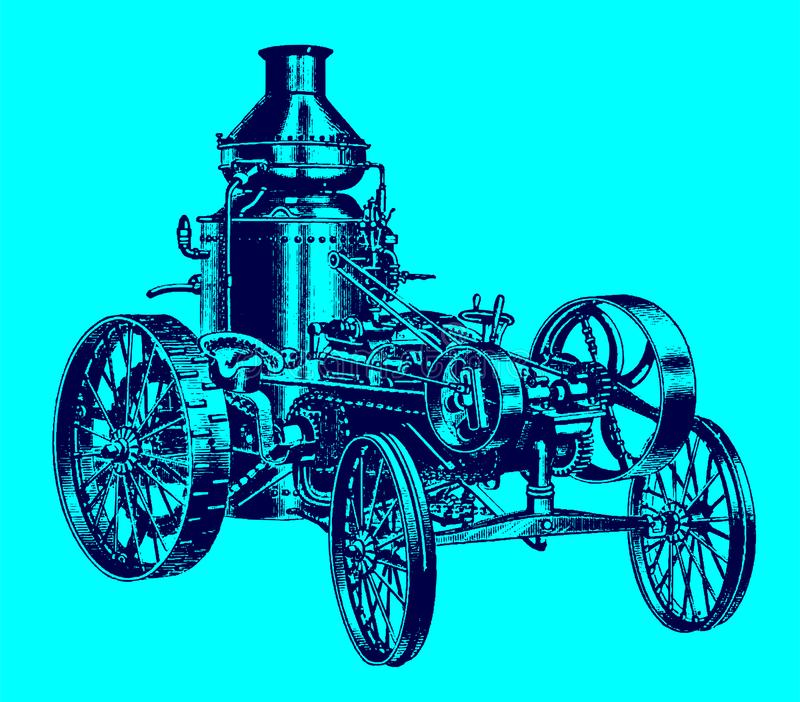 Historic steam road locomotive, tractor, vehicle with water tank in quarter view. Illustration after an engraving from the 19th century. Editable in layers stock illustration