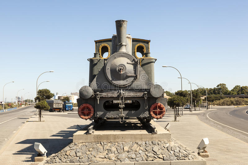 Historic steam train. Old historic steam train in the port of Huelva, Spain stock photography