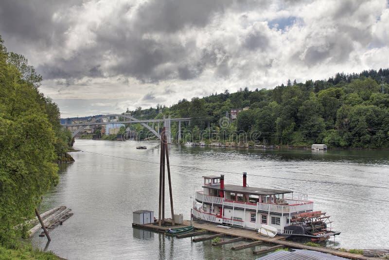 Historic Sternwheeler Docked Along Willamette River royalty free stock photo
