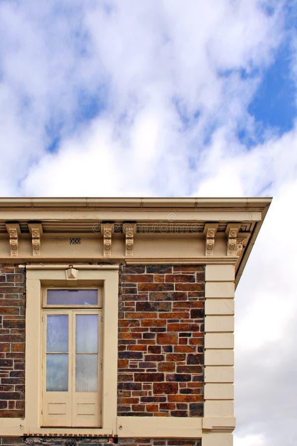 Historic Stone Building with Upper Storey Door stock photo