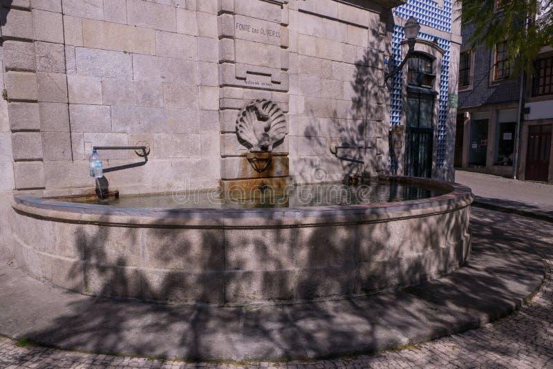 Historic stone fountain, Fonte das Oliveiras in Porto, Portugal stock image