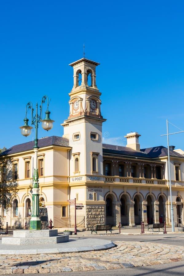 Historic stone post office in Beechworth in Victoria, Australia stock images