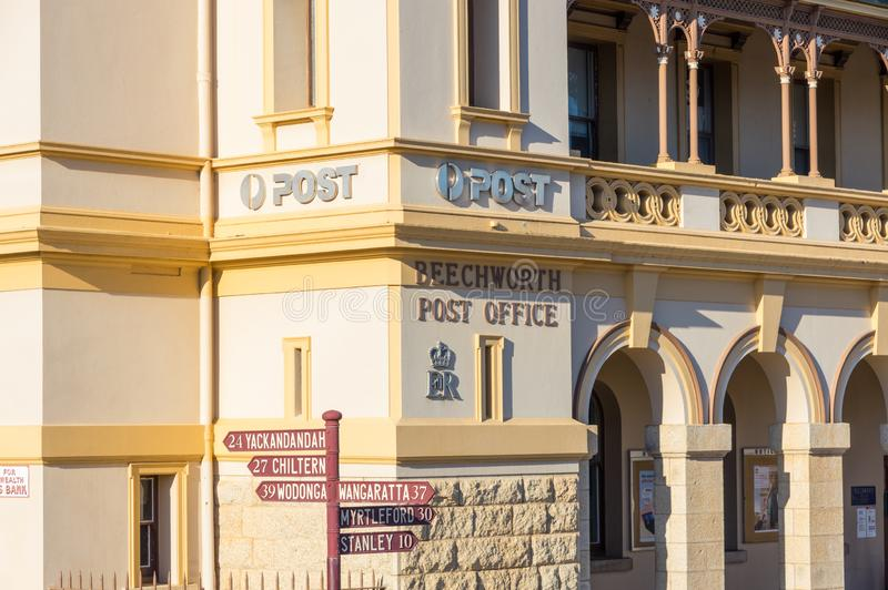 Historic stone post office in Beechworth in Victoria, Australia. The historic post office in Beechworth in the north eastern region of Victoria was built in 1870 royalty free stock photos