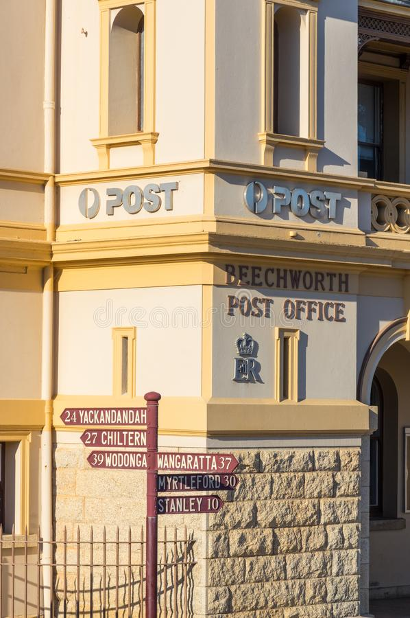 Historic stone post office in Beechworth in Victoria, Australia. The historic post office in Beechworth in the north eastern region of Victoria was built in 1870 royalty free stock images