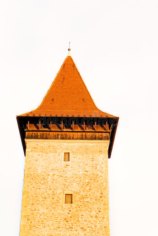 Historic stoned tower isolated stock photo