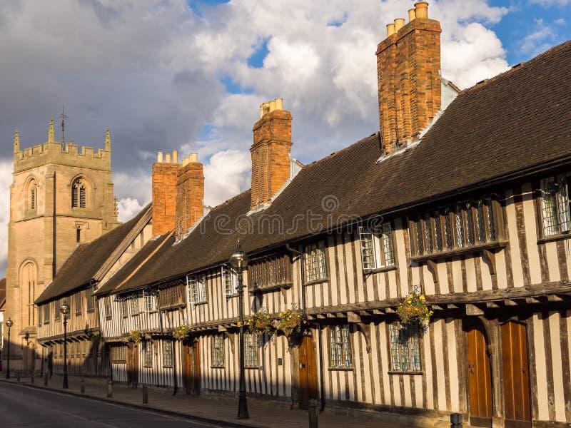Historic Stratford on Avon. Tudor houses, King Edwad VI School, and the Guild Chapel in Stratford on Avon. Warwickshire, England, UK royalty free stock photography