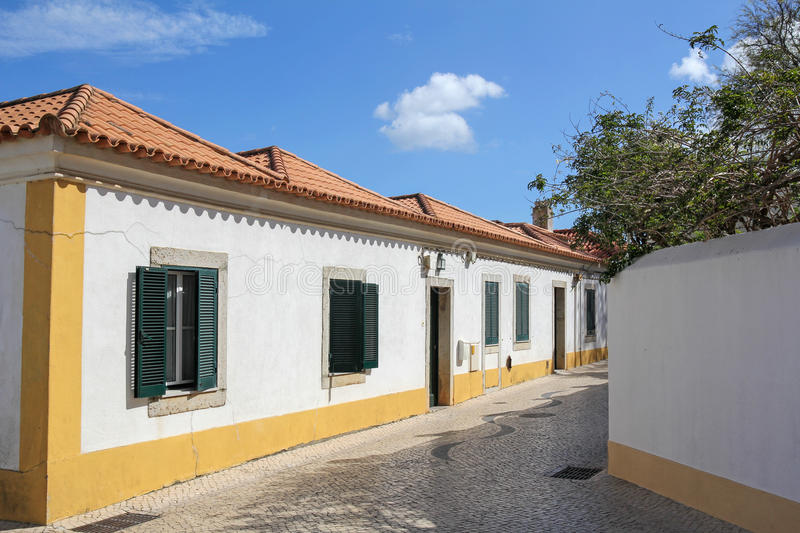 Historic street in Cascais, Portugal stock photo