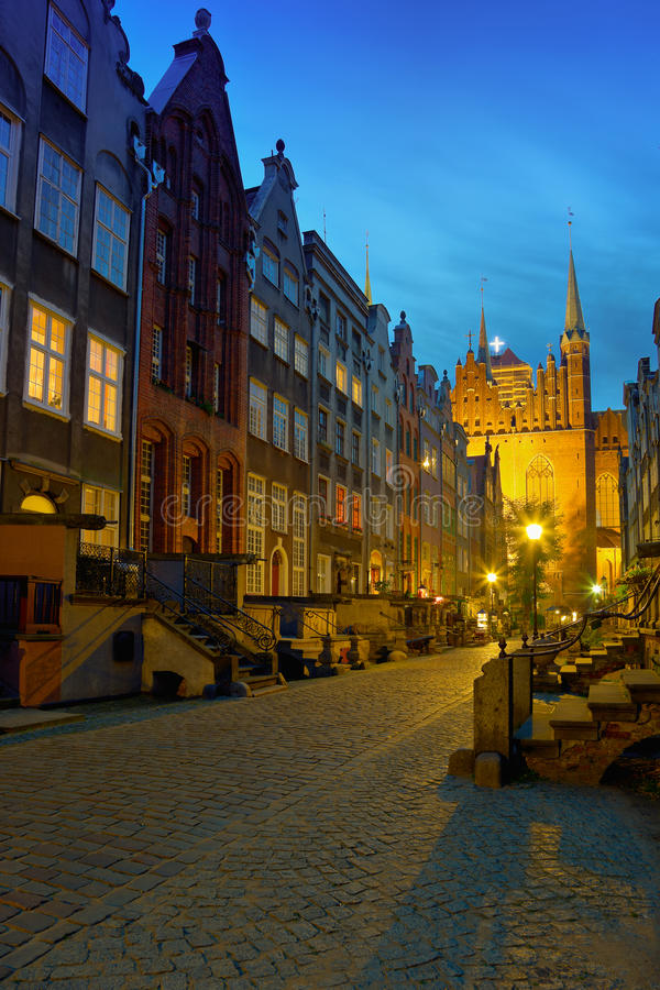 Download Historic Street In Gdansk At Night Stock Photo - Image: 21461242