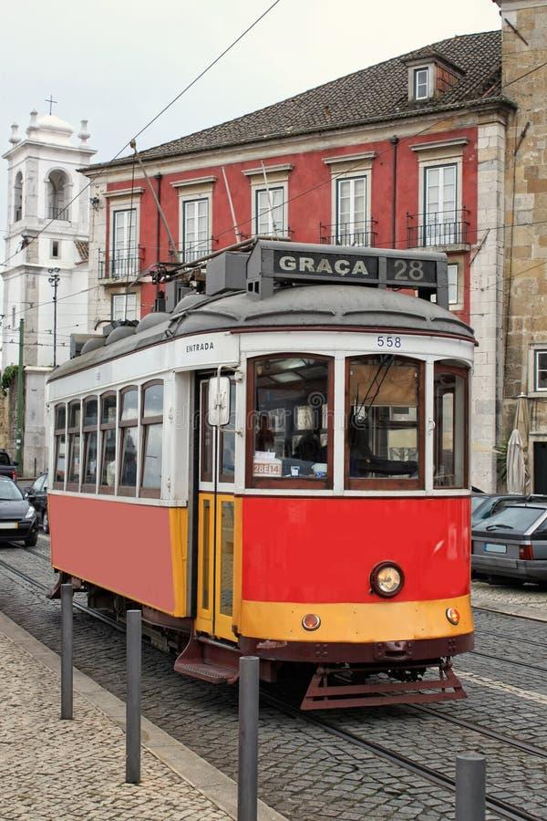 Historic Streetcar In Alfama Lisbon Stock Photography