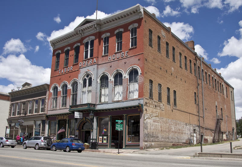 Historic Tabor Opera House. Facade of the historic three story red brick Tabor Opera House, Harrison Street, Leadville, Colorado, USA, built in 1879 it is one of royalty free stock photos