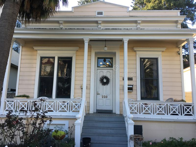 The historic Tanforan cottage one,. This cottage, made of redwood and built in 1854, was for Toribio Tanforan. The Tanforan Shopping center, on the site of the royalty free stock photos