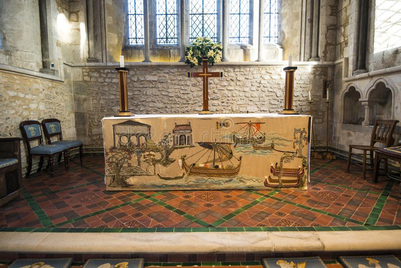 The historic tapestry at beautiful Bosham Church in West Sussex, England. An ancient site. stock photos