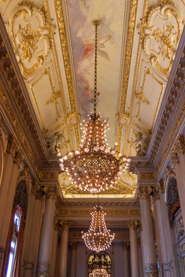 The Historic Teatro Colon in Buenos Aires. An interior shot of the historic, nineteenth-century Teatro Colon in Buenos Aires, Argentina royalty free stock photos