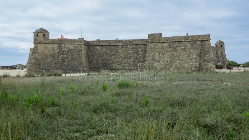 Historic 17th century coastal fort in Vila do Conde, Portugal. Fort of John the Baptist / Joao Batista. Wide angle royalty free stock image