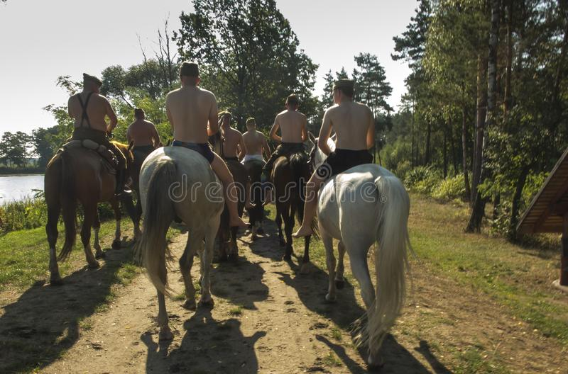 Historic Third Silesian Uhlan Regiment on horses on august 31, 2019 in Kalety - Zielona, Poland. Silesia stock photo
