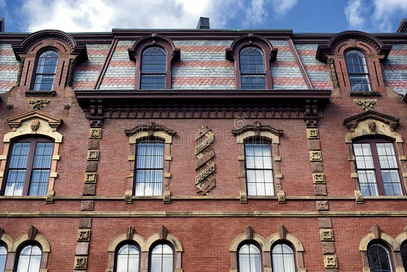 Historic Thompson Block building Portland Maine stock images