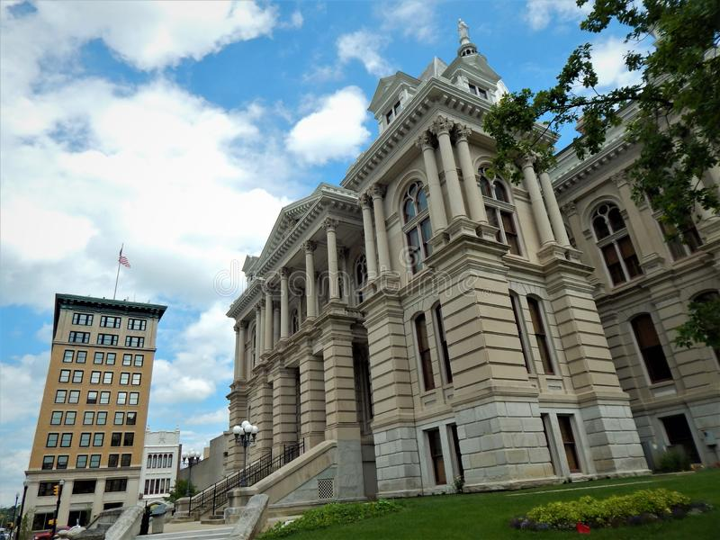 Tippecanoe county courthouse and the Lafayette Building stock photography