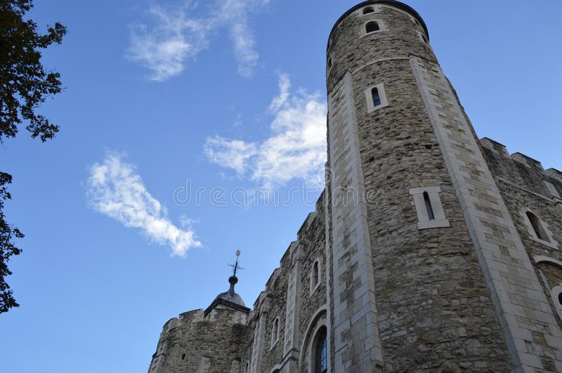 Historic Tower in London, England. Amongst a blue sky stock image