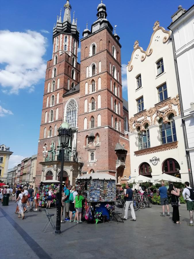 The historic tower of the old city of Krakow stock photo