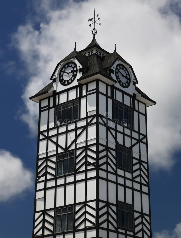 Historic tower of Stratford near volcano Taranaki, New Zealand. Historic clock tower of Stratford near volcano Taranaki, New Zealand stock images