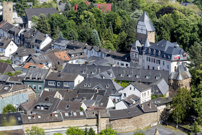 Historic town ahrweiler germany from above. The historic town ahrweiler germany from above stock image