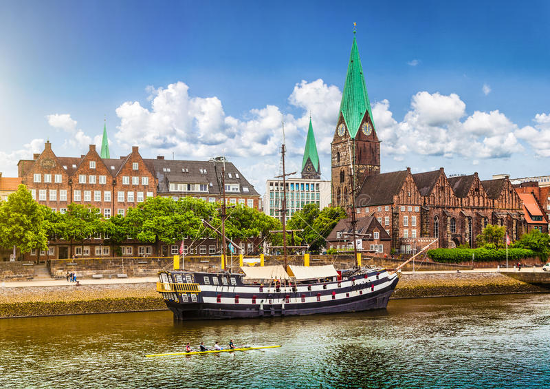 Historic town of Bremen, Germany. Historic town of Bremen with Weser river, Germany royalty free stock image