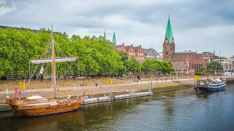 Historic town of Bremen with Weser river, Germany stock photography