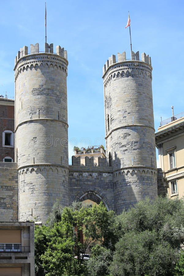 Historic town gate in Genoa, Italy. Medieval town gate in Genoa, Italy royalty free stock photography