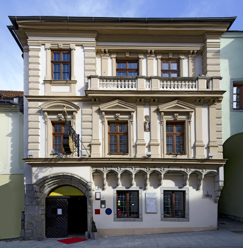 Historic town house with gothic and historicism elements. Front of a historic town house with gothic and historicism elements at Freistadt, Austria, birth house stock image