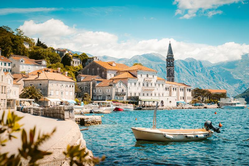 Historic town of Perast at Bay of Kotor in summer, Montenegro. Classic panorama view of the historic town of Perast located at world-famous Bay of Kotor on a royalty free stock images