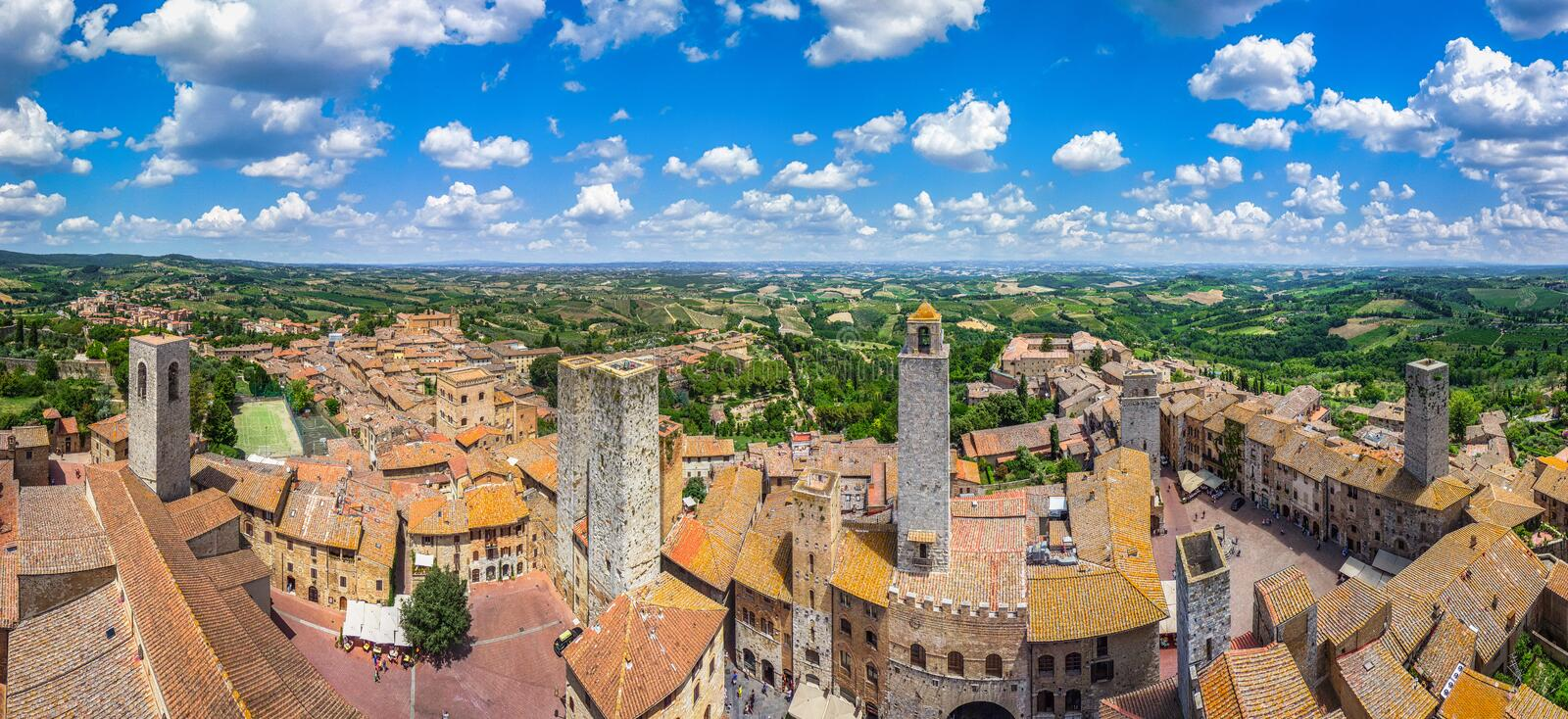 Historic town of San Gimignano with tuscan countryside, Tuscany, Italy royalty free stock image