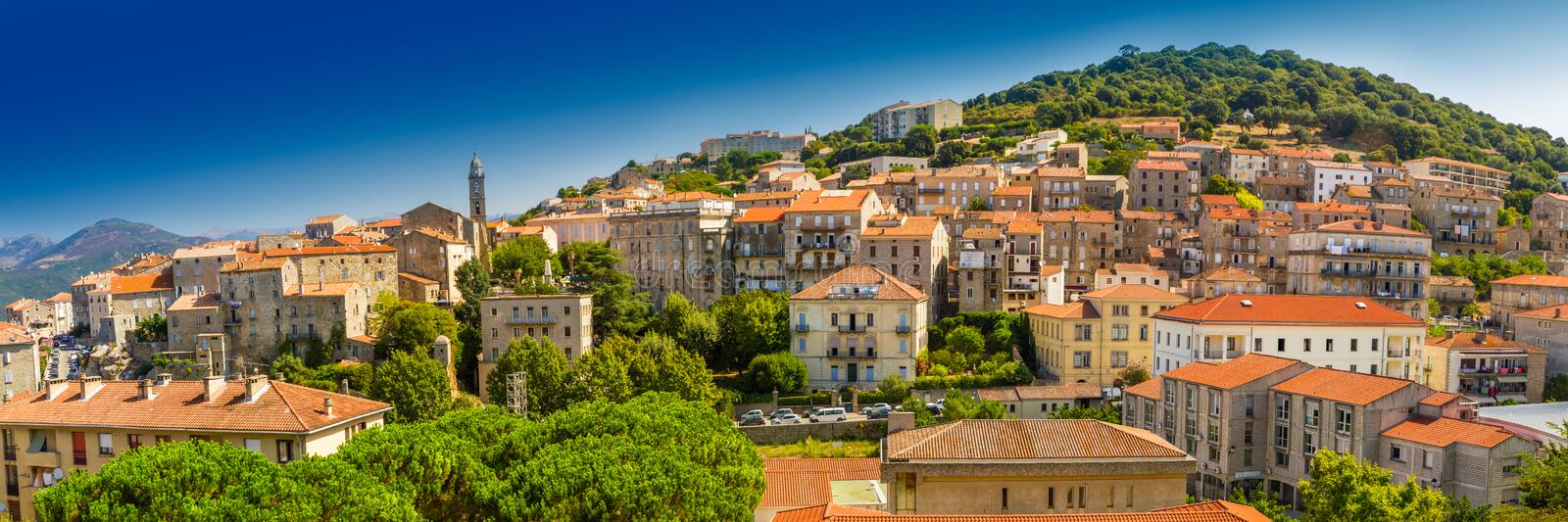 Historic town Sartene, Corsica, France, Europe. Sartene old town with green forest and mountains, Corsica, France, Europe stock image