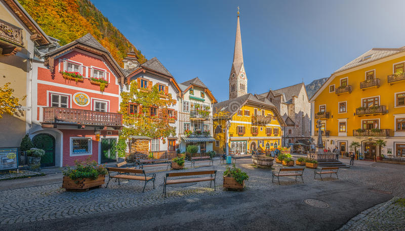 Historic town square of Hallstatt with colorful houses, Salzkammergut, Austria royalty free stock image