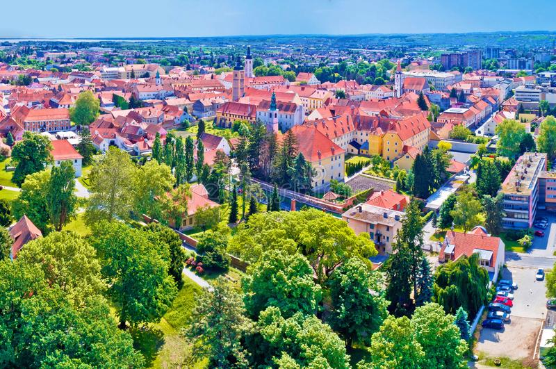 Historic town of Varazdin aerial panoramic view. Northern Croatia stock images