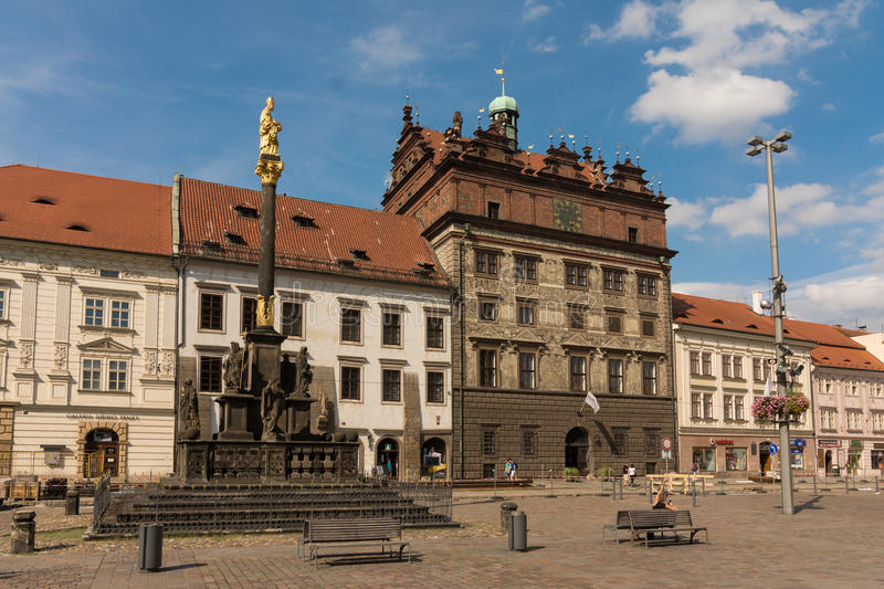 Historic Townhall of Plzen , Czech republic. July 2014 stock photography