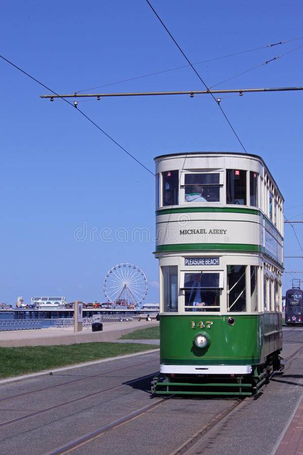 Historic tram on Blackpool Seafront royalty free stock images
