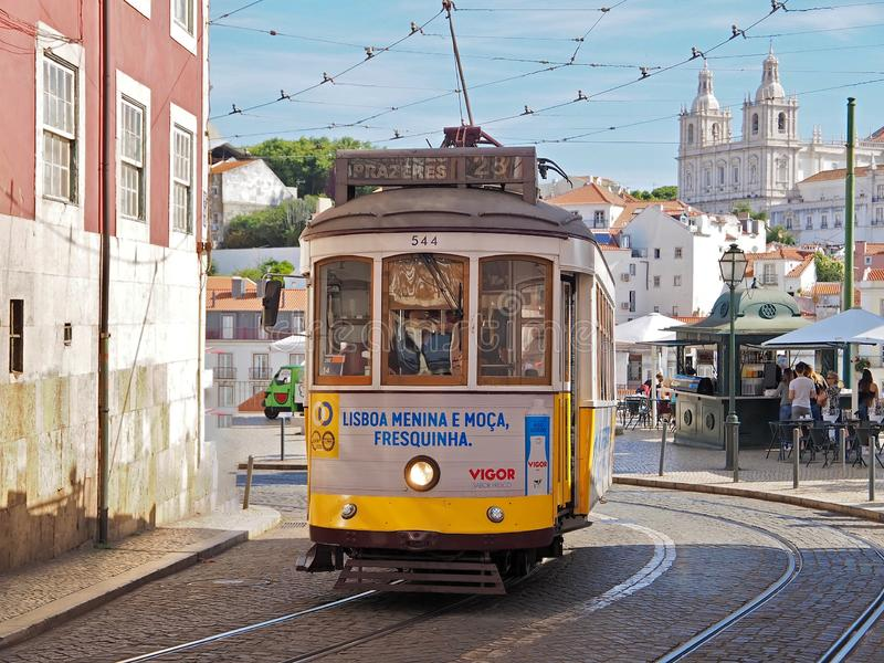 Ride a famous tram in Lisbon stock photos
