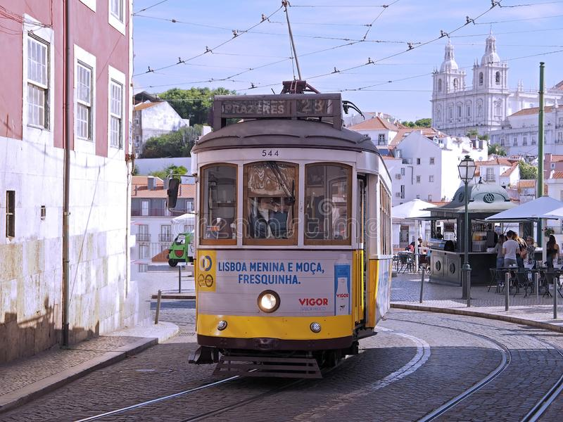 Ride a famous tram in Lisbon stock photo