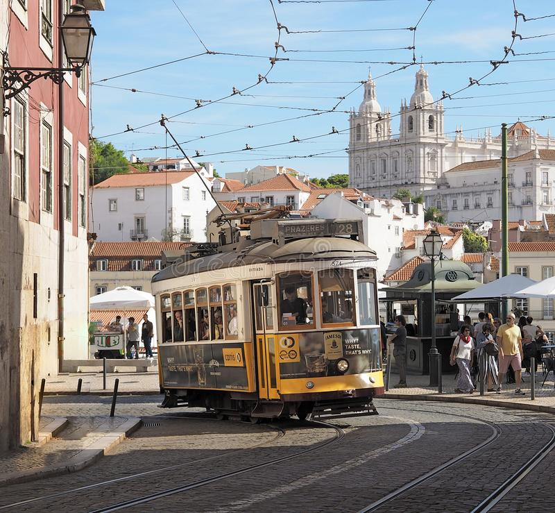 Ride a famous tram in Lisbon stock image