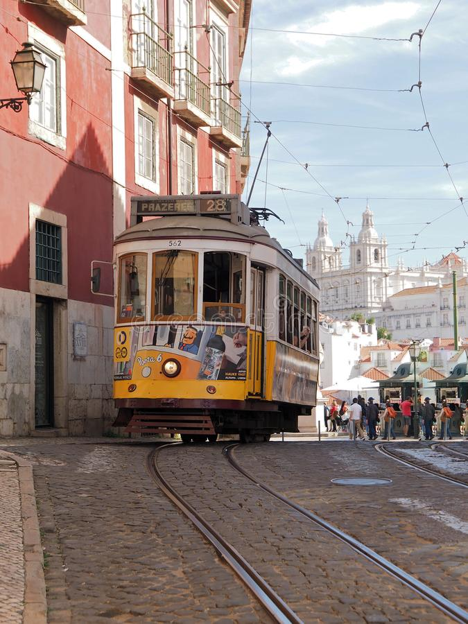 Ride a famous tram in Lisbon stock images