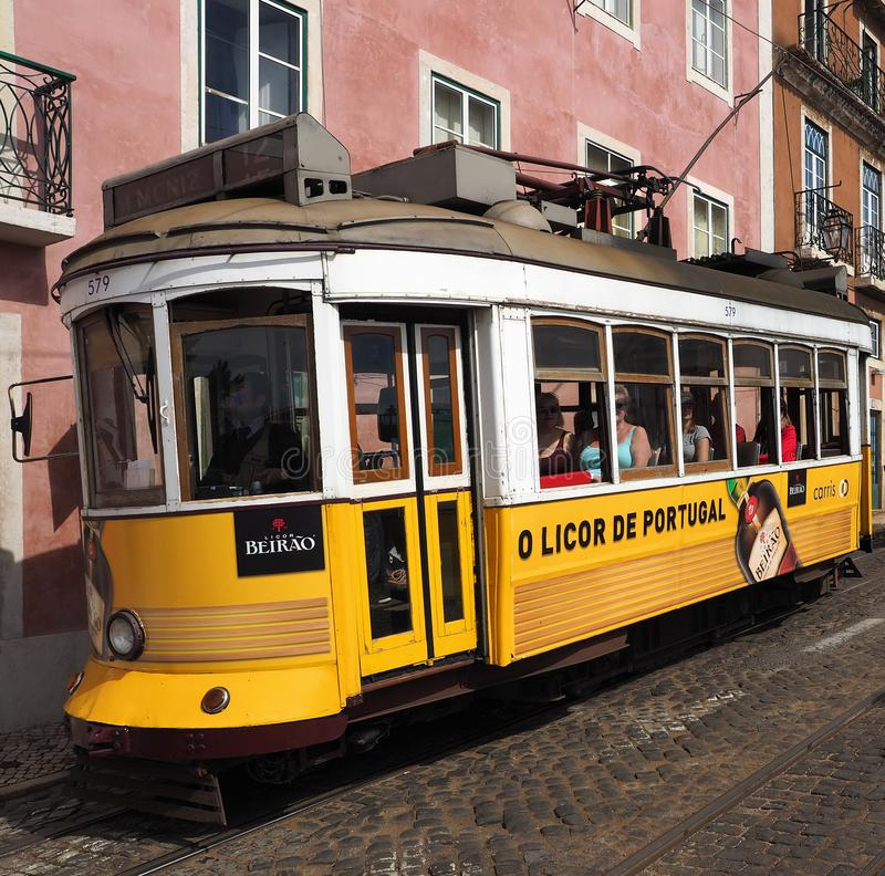 Ride a famous tram in Lisbon royalty free stock photography