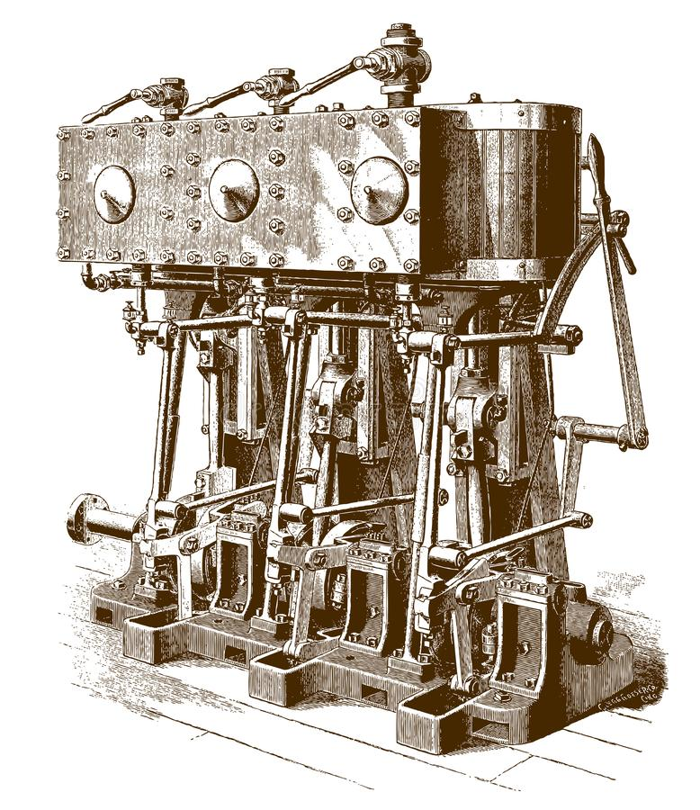 Historic triple-expansion yacht engine stock illustration
