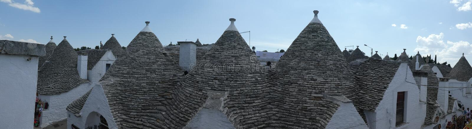 Roof Panoramic Alberobello Trulli Trullo Apulia Southern Italy Romantic Cottage royalty free stock images
